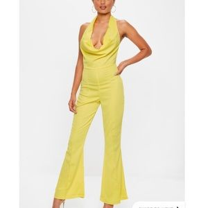 Satin Cowl Neck Bell Bottom Jumpsuit